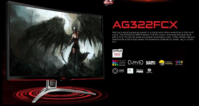 AOC 31.5' AGON 144Hz 1ms, Curved, FreeSync ,VA Panel, Full HD, Metal Bezel - HDMI/DP/DVI/VGA,Tilt, Shadow Control, Game Mode, Gaming Monitor (LS)