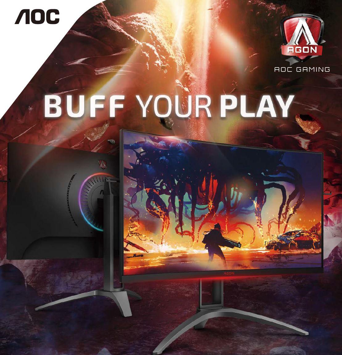 AOC 31.5' AGON 2560x1440 QHD VA 1ms,144Hz 550nits Curved 1500R, Free-Sync 2, HDR 400, USB 3.2 Gen1× 4, Speakers  HAS