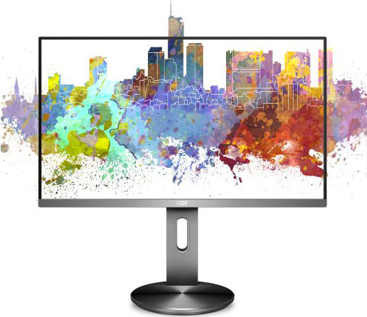 AOC 23.8' IPS 5ms Full HD Frameless Business Monitor w/HAS Pivot 90 degrees - VGA/HDMI/DP Speaker VESA100mm USB3 Height Adjustable