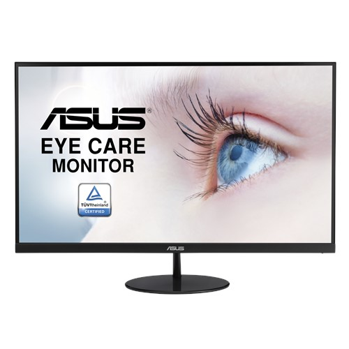 ASUS VL249HE 23.8' Eye Care Monitor FHD (1920x1080), IPS, Slim Design, 3-side Frameless, FreeSync, 75Hz, Flicker-Free, Low Blue Light, VESA 100