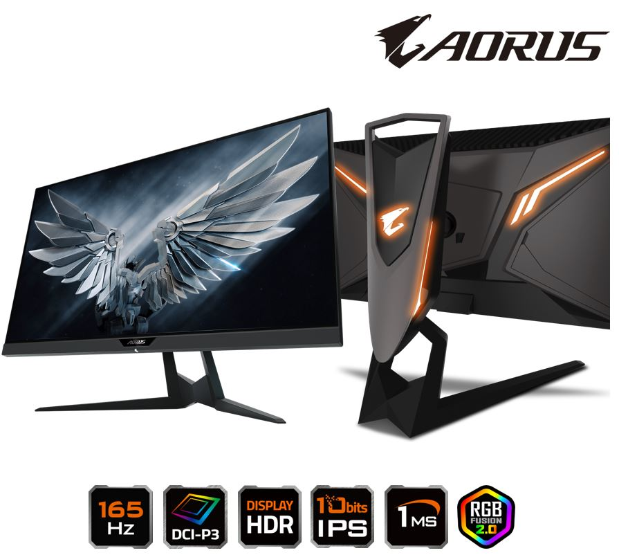 Gigabyte AORUS FI27Q 27' Tactical Gaming Monitor QHD 165Hz 1ms HDR FreeSync G-Sync 10bits IPS DCI-P3 Swivel Pivot Tilt Height Adjust HDMI DP AD27QD