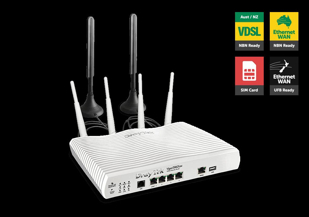 Draytek Vigor2862LAC Multi WAN VDSL2/ADSL2+ Gigabit Firewall Router VoIP Wireless AC2000 3G/4G LTE SIM 4xGigabit LAN 32xVPN 16xVLAN 2yr ~MOD-DV2860LAC