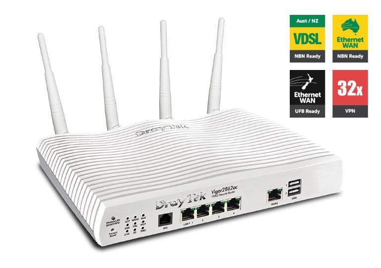 Draytek Vigor2862VAC Multi WAN VDSL2/ADSL2+ Gigabit Firewall Router VoIP Wireless AC2000 3G/4G LTE USB 4xGigabit LAN 32xVPN 16xVLAN 2yr~MOD-DV2860VAC