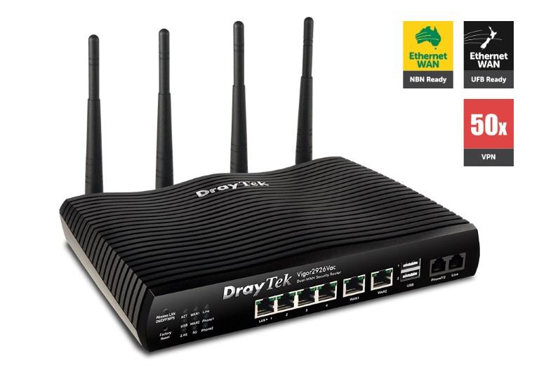 Draytek Vigor2926VAC Dual WAN Gigabit Broadband Router VOIP Wireless AC2000 Firewall 50VPNs 2Gigabit WAN 4Gigabit LAN 3G/4G USB 16VLAN 2yr~DV2925VAC