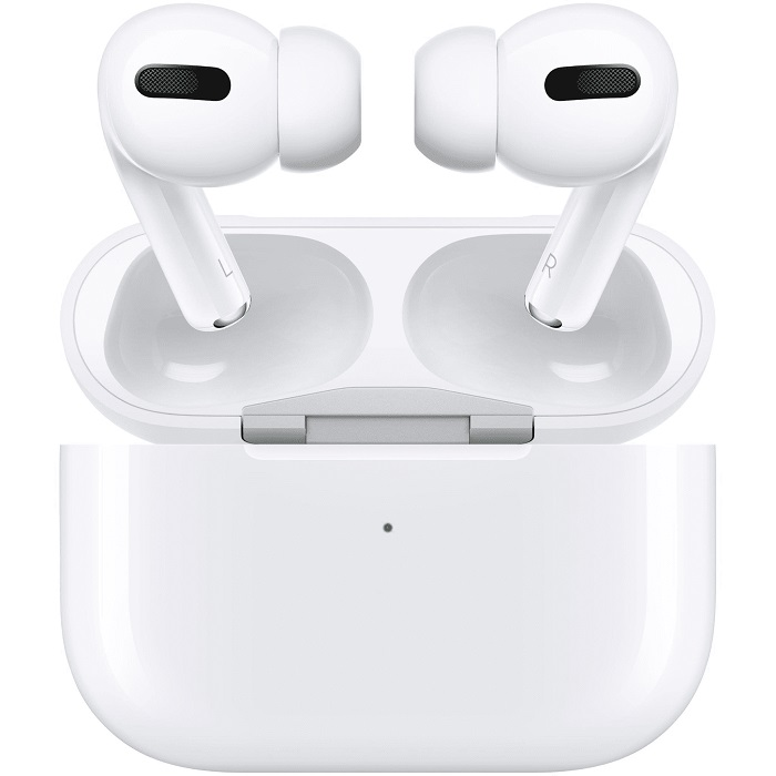 Apple AirPods Pro  -  Active Noise Cancellation, Wireless Charging Case, Dual beamforming microphones,  Chip- H1-based, Sweat and water resistance,