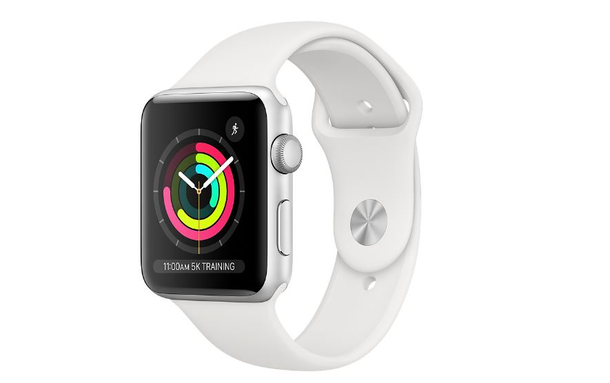 Apple Watch Series 3 GPS 38mm - Silver Aluminium case with White sports band,Optical heart sensor,8GB capacity,watchOS 6,Bluetooth 4.2