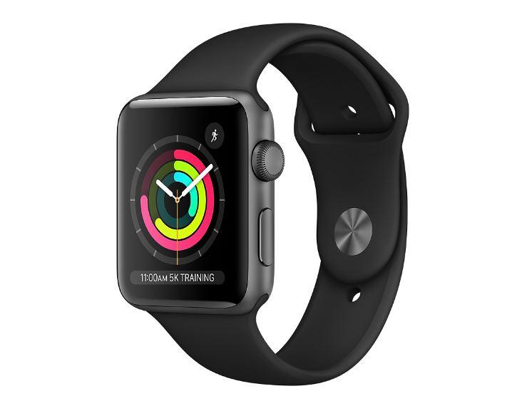Apple Watch Series 3 GPS 38mm - Space Grey Aluminium case with Black sports band,Optical heart sensor,8GB capacity,watchOS 6,Bluetooth 4.2