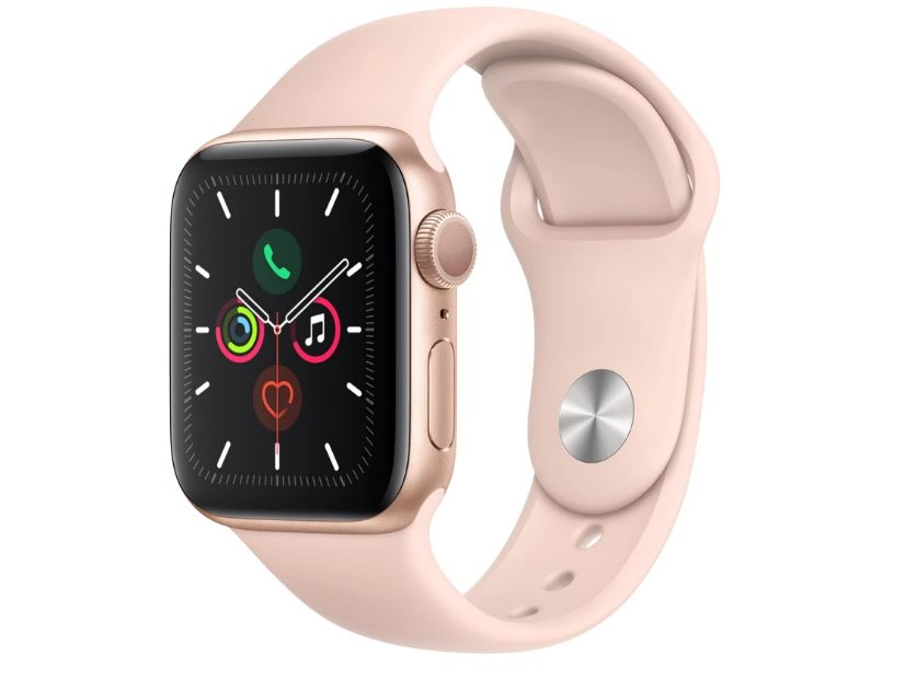 Apple Watch Series 5 GPS 40mm -  Gold Aluminium case with Pink Sand sports band,watchOS 6,Electrical and optical heart sensor,32GB capacity