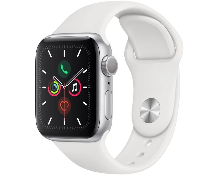 Apple Watch Series 5 GPS 40mm - Silver Aluminium case with White sports band,watchOS 6,Electrical and optical heart sensor,32GB capacity