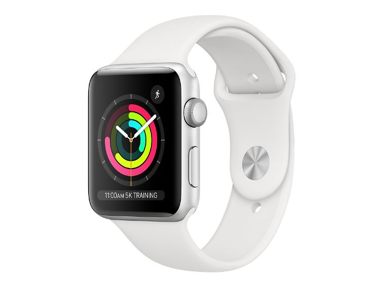 Apple Watch Series 3 GPS 42mm - Silver Aluminium case with White sports band,Optical heart sensor,8GB capacity,watchOS 6,Bluetooth 4.2