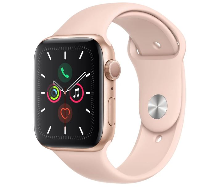 Apple Watch Series 5 GPS 44mm -  Gold Aluminium case with Pink Sand sports band,watchOS 6,Electrical and optical heart sensor,32GB capacity