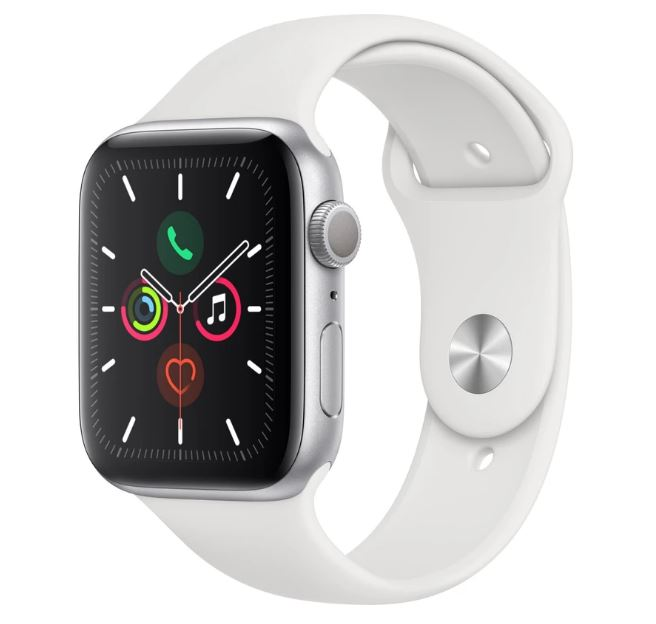 Apple Watch Series 5 GPS 44mm - Silver Aluminium case with White sports band,watchOS 6,Electrical and optical heart sensor,32GB capacity