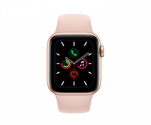 Apple Watch Series 5 GPS + Cellular 40mm - Gold Aluminium case with Pink Sand sports band,watchOS 6,Electrical and optical heart sensor,32GB capacity