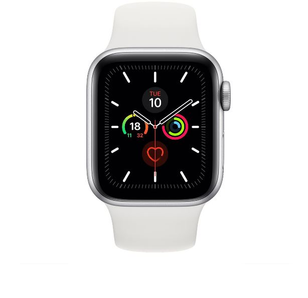 Apple Watch Series 5 GPS + Cellular 40mm - Silver Aluminium case with White sports band,watchOS 6,Electrical and optical heart sensor,32GB capacity