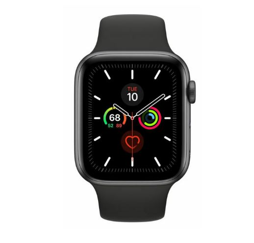 Apple Watch Series 5 GPS + Cellular 44mm -Space Grey Aluminium case with Black sports band,watchOS 6,Electrical and optical heart sensor,32GB capacity