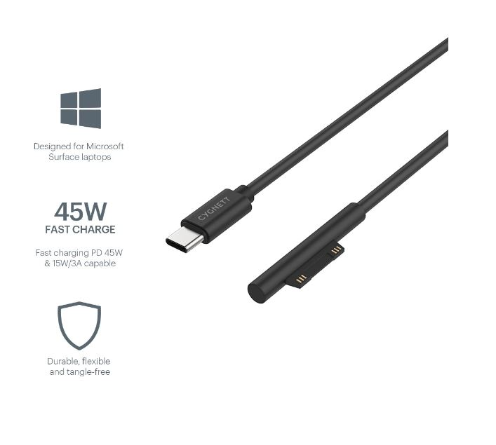 CYGNETT ESSENTIAL USB-C TO SURFACE CABLE CHARGER - BLACK
