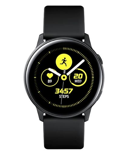 SAMSUNG GALAXY WATCH ACTIVE Black- with 1.1' Super AMOLED Display(360x360), 1.15GHz Dual Core CPU, Tizen OS,  4GB ROM,0.75 RAM, 230mAh battery