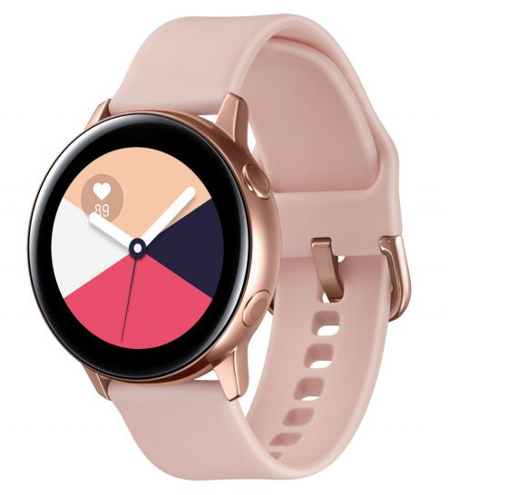 SAMSUNG GALAXY WATCH ACTIVE ROSE GOLD- with 1.1' Super AMOLED Display(360x360), 1.15GHz Dual Core CPU, Tizen OS,  4GB ROM,0.75 RAM, 230mAh battery