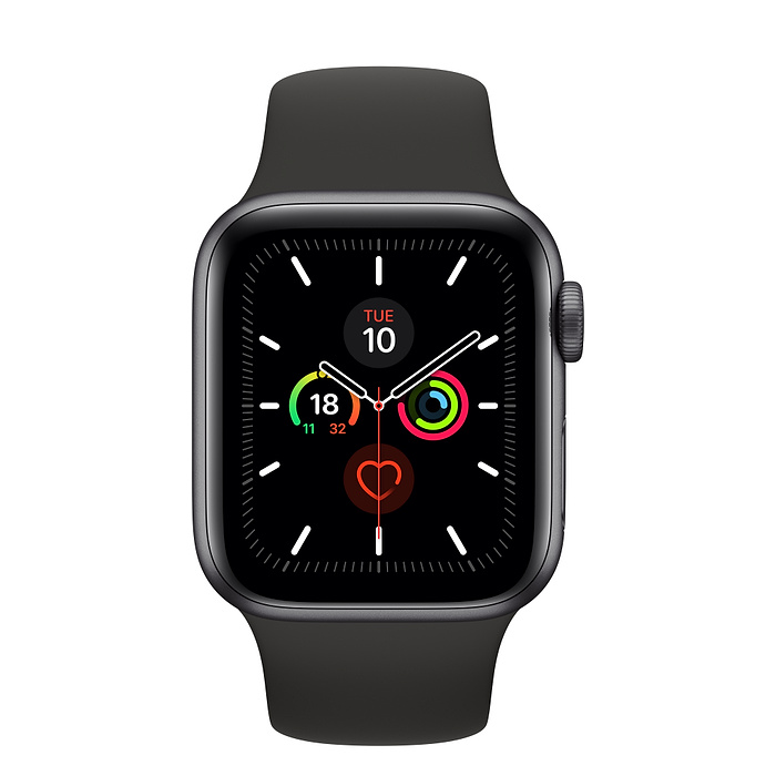 Apple Watch Series 5 GPS + Cellular 40mm- Space Grey Aluminium case with sports band- LTPO OLED Display, Bluetooth 5, 32GB Storage Capicity, Watch OS6