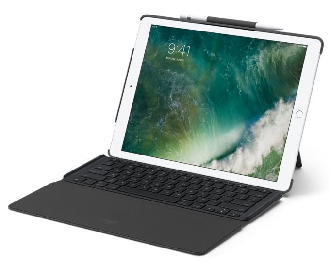 Logitech Slim Combo 12.9' iPad Pro Case Cover with Detachable Fullsize Backlit Keyboard Smart Connector Foldable Palm Rest Multiples iOS Shortcuts