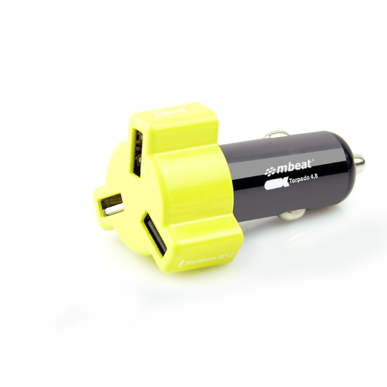 mbeat® 4.8A 24W Triple-port Rapid Yellow Car Charger