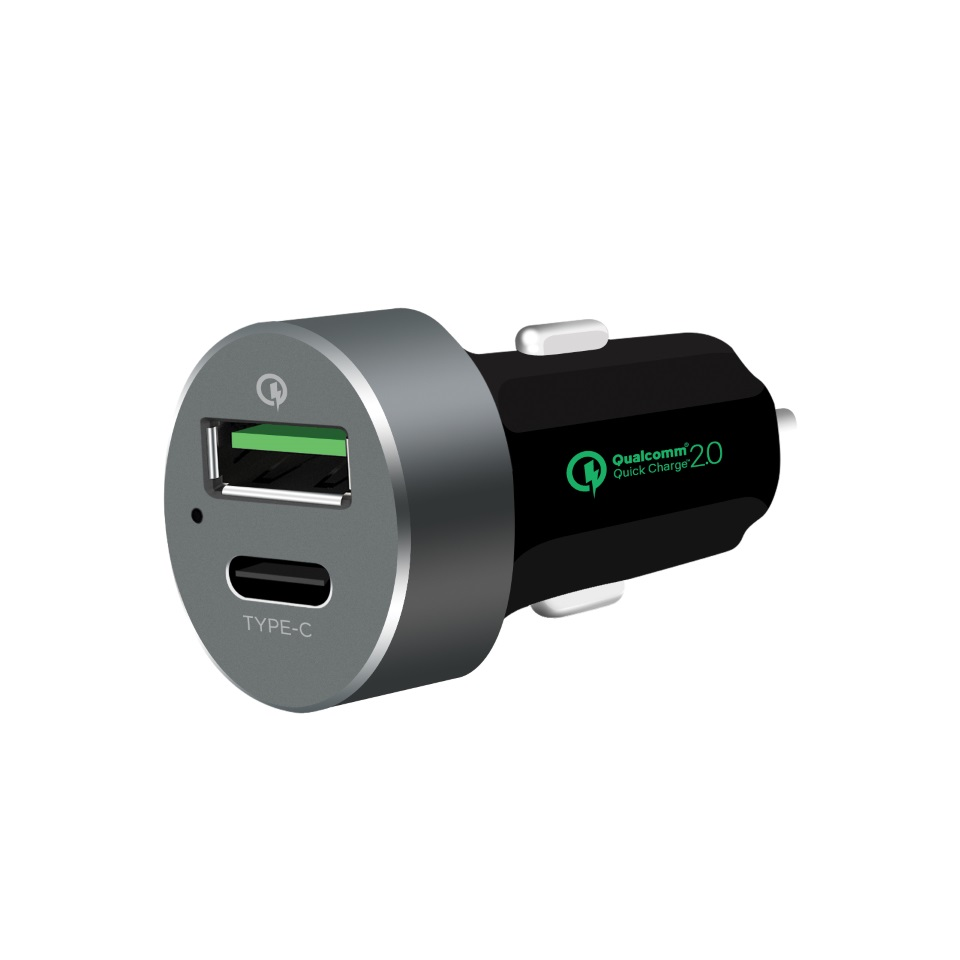 mbeat® QuickBoost USB 2.0  USB Type-C Dual Port Car Charger -  Certified Qualcomm Quick Charge 2.0 technology /Fast Charging/ Samsung Galaxy Note