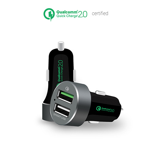 mbeat® QuickBoost S Dual Port Qualcomm Certified Quick Charge 2.0 and Smart USB Car Charger