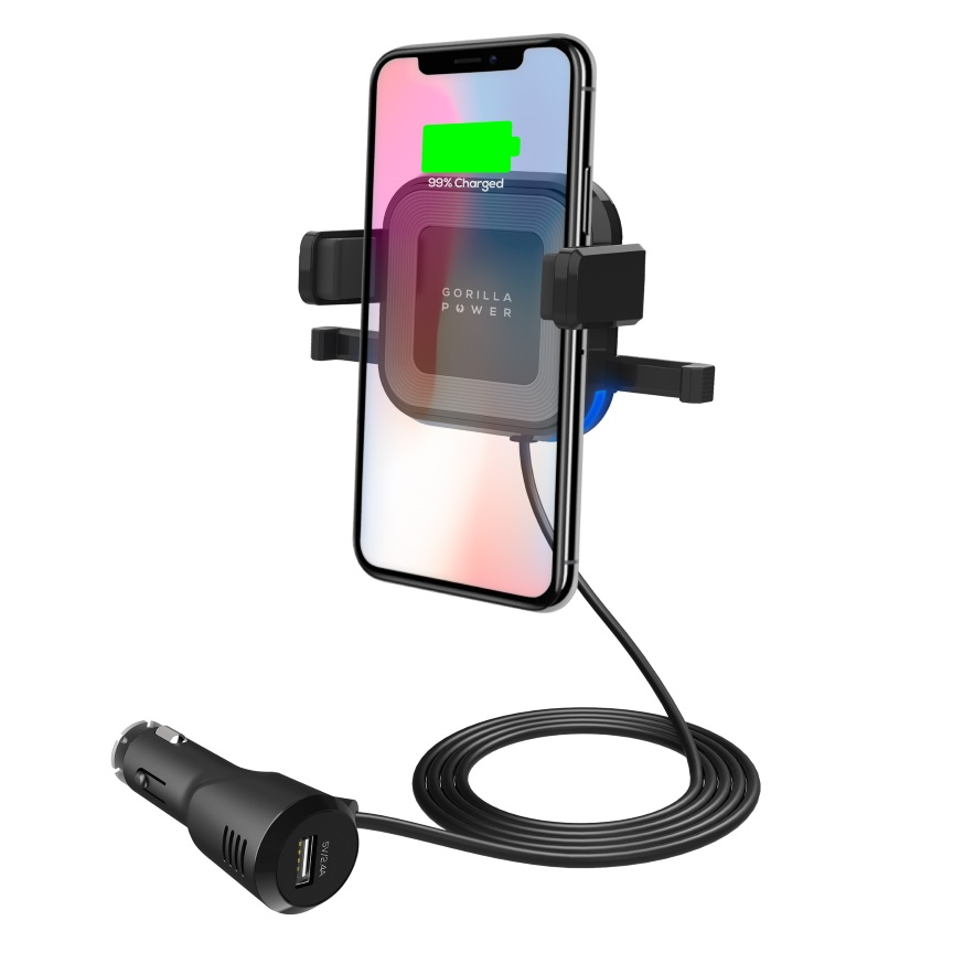 mbeat® Gorilla Power 10W Wireless Car Charger with 2.4A USB Charging, Air Vent Clip  Windshield Stand