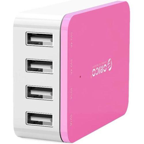 ORICO 4 x USB Port - Desktop Charger - Pink, 2x 5v/2.4A Ports, 2x 5v/1A Ports, Mobile Tablet Charger
