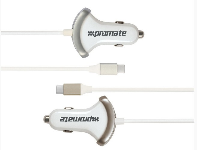 @Promate 'Booster-C' 7.2A Heavy Duty USB 3.0 Type-C Car Charger - Silver