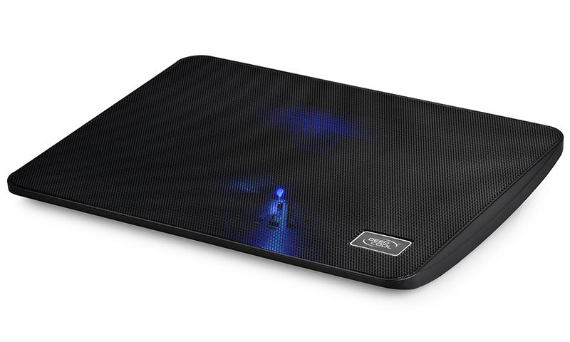 Deepcool Wind Pal Mini Notebook Cooler Black 15.6' Max, Metal Mesh, 140mm Fan, Blue LED, USB Passthrough