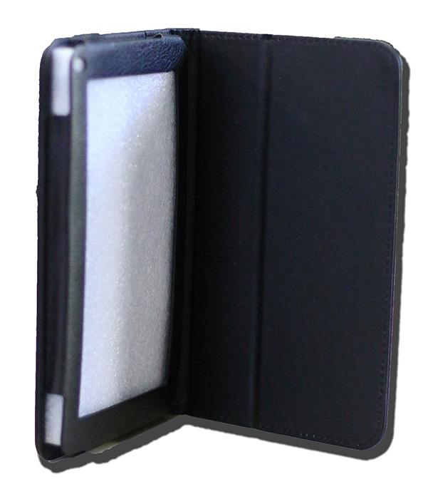 LeaderTab7 Folio Case Black Faux Leather. Camera hole rear