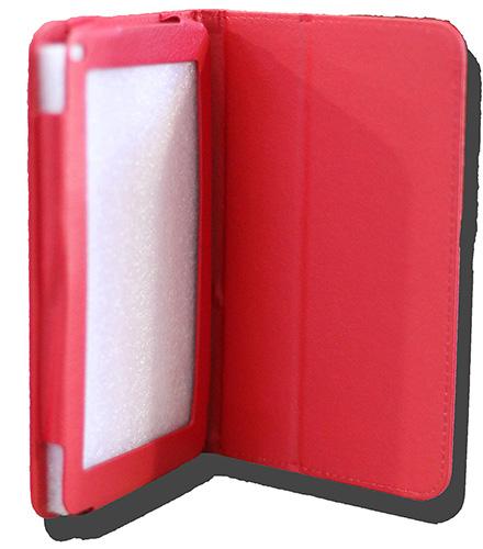 LeaderTab7 Folio Case Red Faux Leather. Camera hole rear
