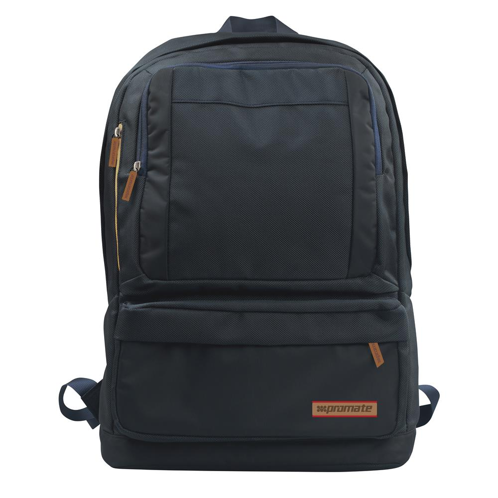Promate Drake Premium Backpack for Laptops up to 15.6inch with Multiple Storage Options - Black