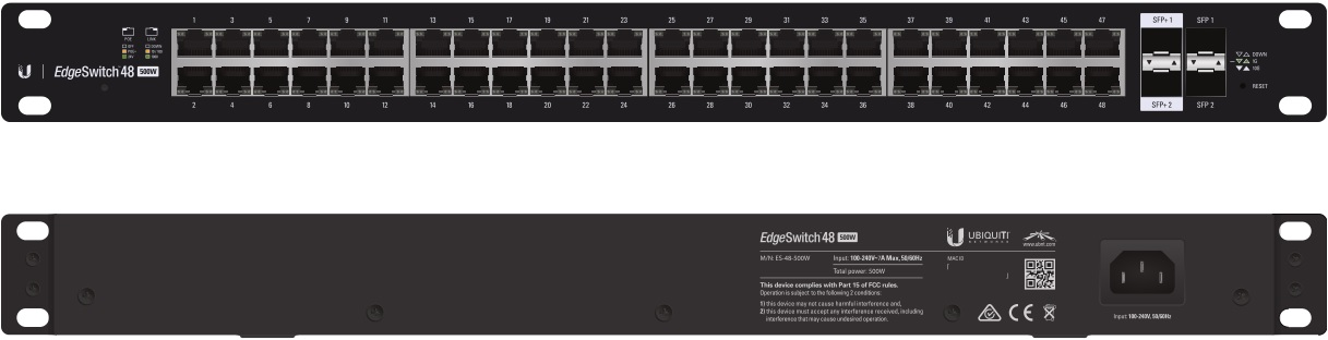 Ubiquiti EdgeSwitch 48 - 48-Port Managed PoE+ Gigabit Switch, 2 SFP and 2 SFP+, 500W Total Power Output - Supports PoE+ and 24v Passive