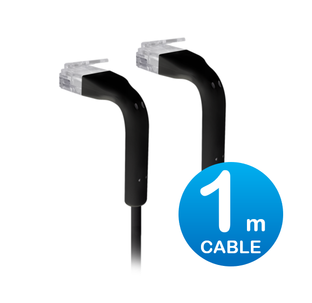 UniFi patch cable with both end bendable RJ45 1m - Black
