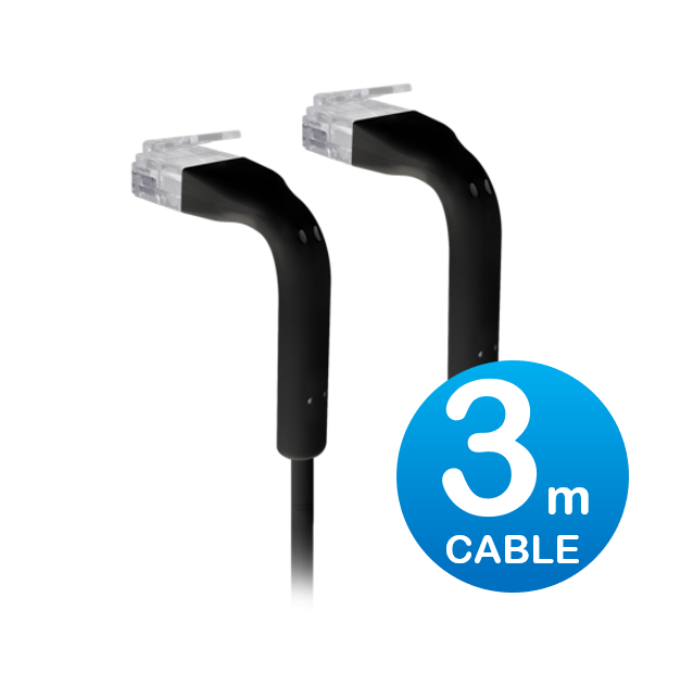 UniFi patch cable with both end bendable RJ45 3m - Black