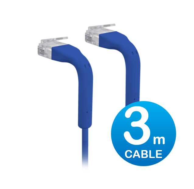 UniFi patch cable with both end bendable RJ45 3m - Blue