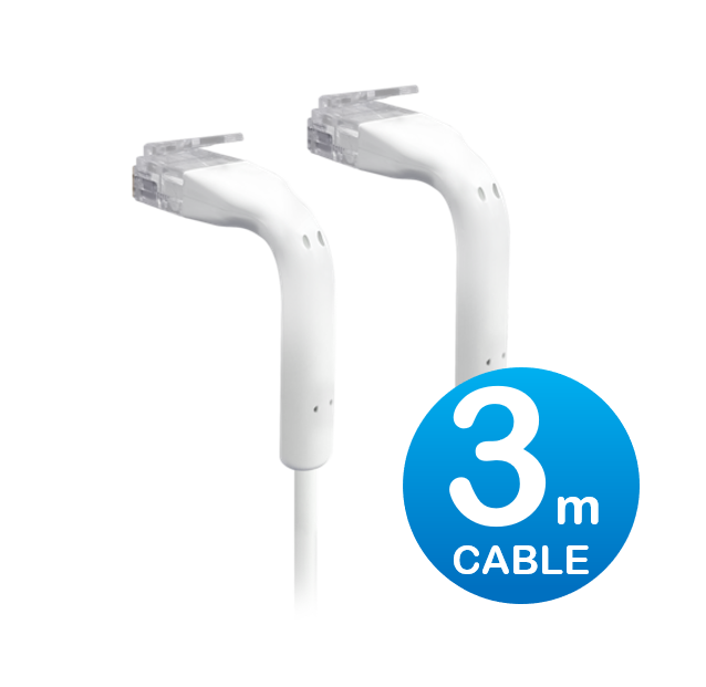 UniFi patch cable with both end bendable RJ45 3m - White