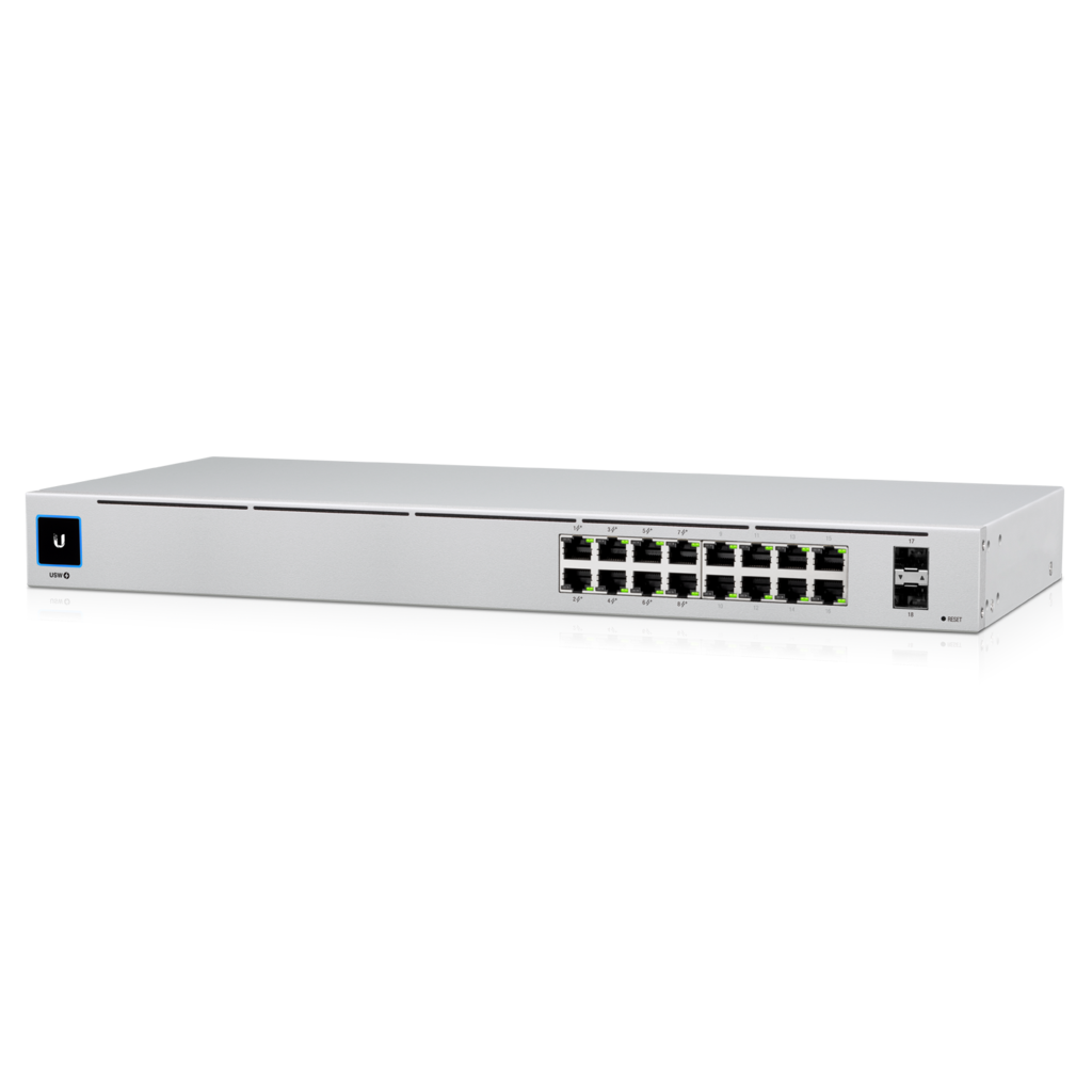 Ubiquiti UniFi 16-port Managed Gigabit Switch - 8x PoE+ Ports, 8x Gigabit Ethernet Ports, with 2x SFP - 60W - Touch Display - Fanless - GEN2