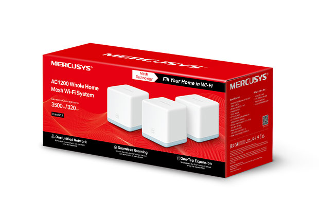 Mercusys Halo S12(3-pack) AC1200 Whole Home Mesh Wi-Fi System