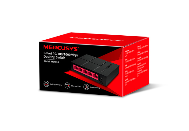 Mercusys MS105G 5-Port 10/100/1000 Mbps Desktop Switch, Five 10/100/1,000 Mbps auto-negotiation RJ45 ports with auto MDI / MDIX supported