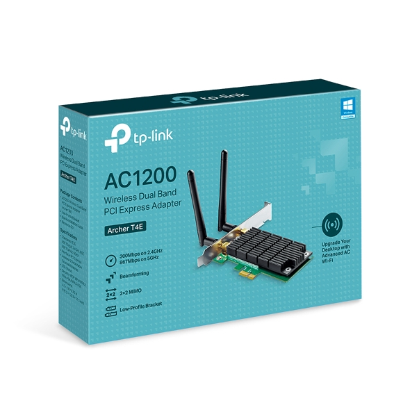 TP-Link Archer T4E AC1200 Wireless Dual Band PCIe Adapter, 867Mbps @ 5Ghz, 300Mbps @ 2.4Ghz