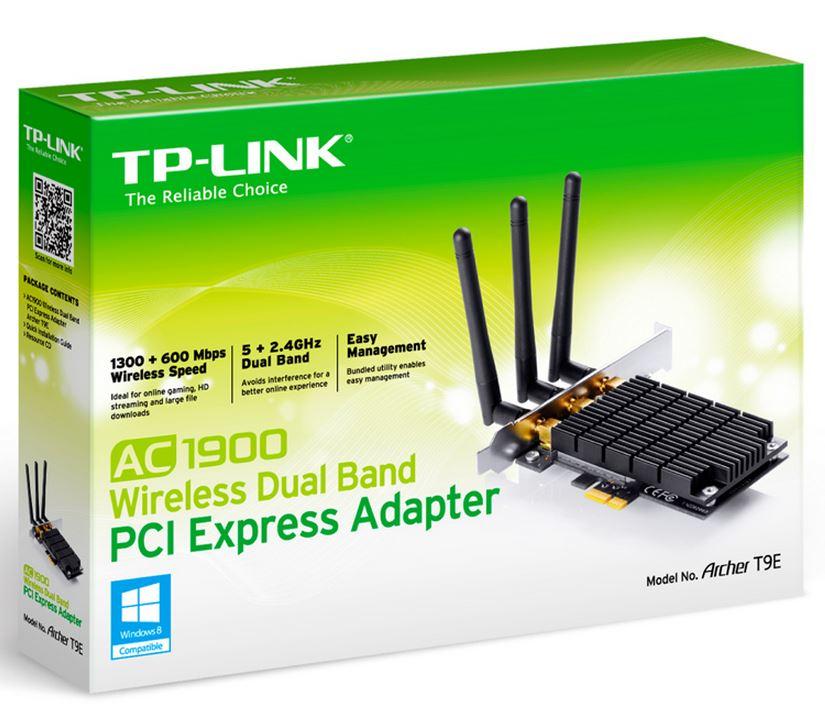 TP-Link Archer T9E AC1900 Wireless Dual Band PCI Express Adapter 1900Mbps 5GHz (1300Mbps) 2.4GHz (600Mbps) 802.11ac 3x External Antenna Omni (LS)