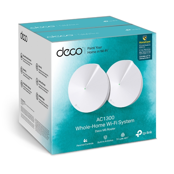 TP-Link Deco M5 (2-Pack) Whole Home Mesh Wi-Fi 1300Mbps System, Built-In Antivirus, Quality of Service, Covers 350sqm 2xGbit Port USB-C, BT, Homecare