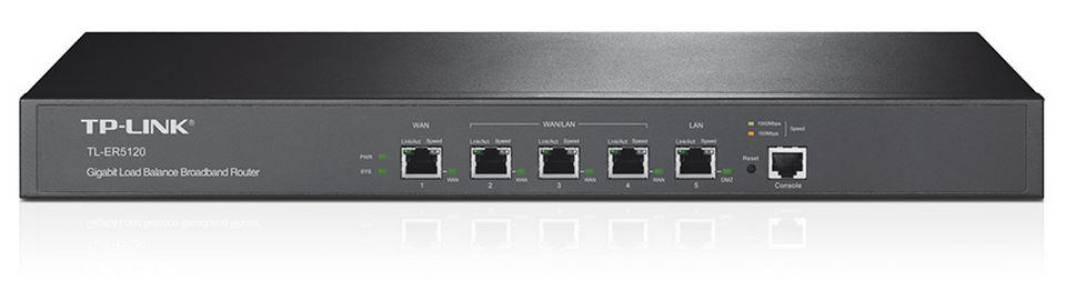 TP-Link TL-ER5120 Gigabit Multi-WAN Load Balance Router 5-port 1 LAN 3 WAN/LAN Ports 1 gigabit LAN/DMZ port Supports PPPoE Server(LS)