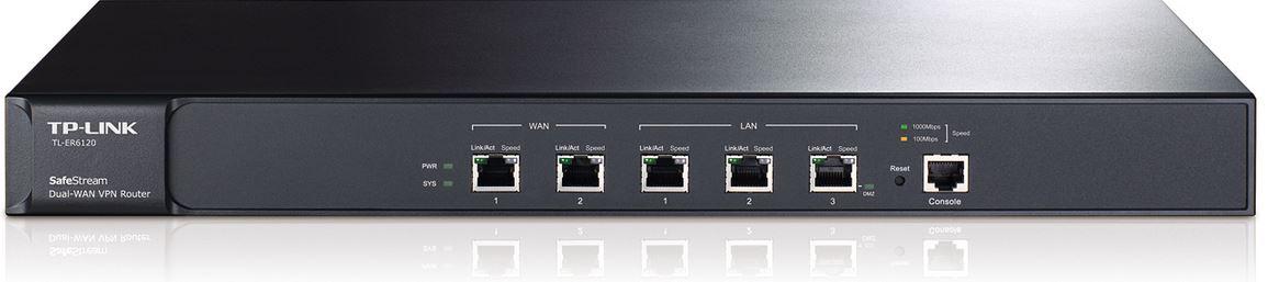 TP-Link TL-ER6120 SafeStream Gigabit Dual-WAN VPN Router 2 WAN ports 2 LAN ports 1 DMZ port multiple VPN 100 IPsec VPN tunnels(LS)