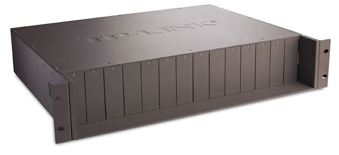 TP-Link MC1400 19' 2U Rackmount Chassis for 14-Slot media converters redundant power supply Hot-Swappable Mounted two cooling fans