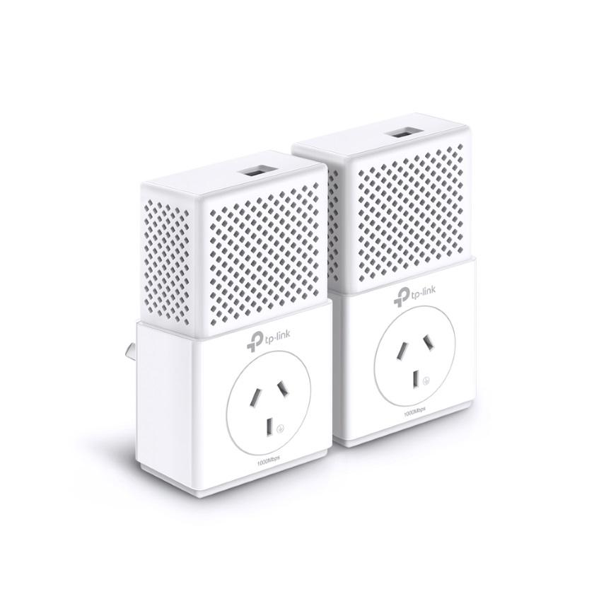 TP-Link TL-PA7010P-KIT AV1000 1000Mbps Gigabit Passthrough Powerline Starter Kit HomePlug AV2 1x1Gbps LAN 300m Pair Button Plug  Play (LS)