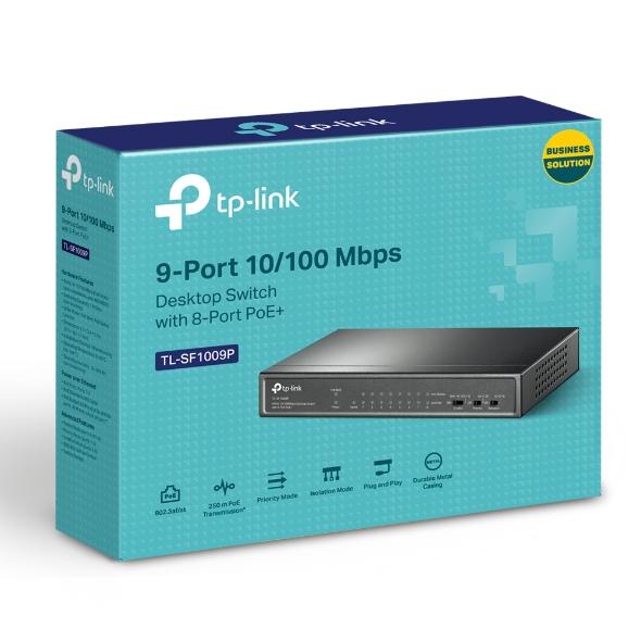 TP-Link TL-SF1009P 9-Port 10/100Mbps Desktop Switch with 8-Port PoE+
